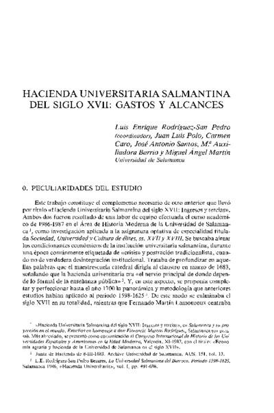 Hacienda universitaria salmantina del siglo XVII: gastos y alcances