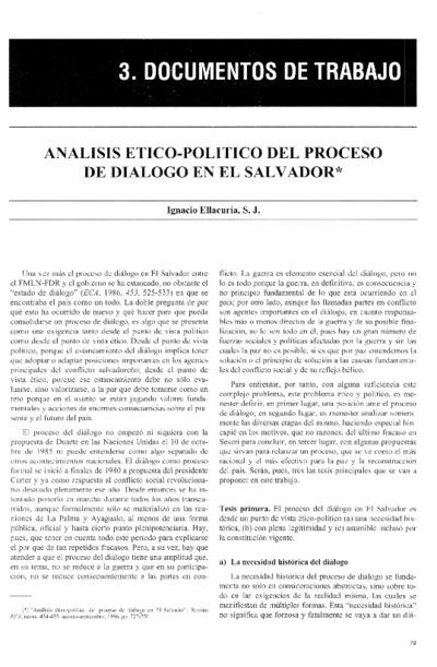 Análisis ético político del proceso de diálogo en El Salvador