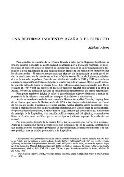 Una reforma inocente: Azaña y el ejercito