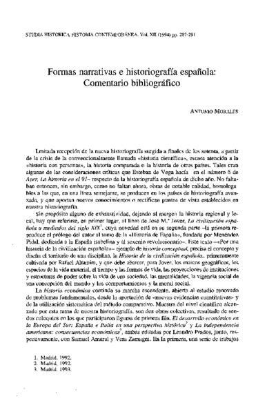 Formas narrativas e historiografía española: Comentario bibliográfico