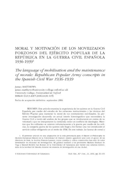 Moral y motivación de los movilizados forzosos del Ejército Popular de la República en la Guerra Civil Española 1936-1939