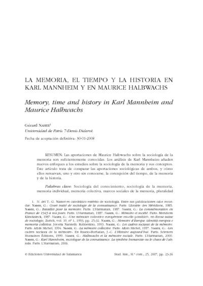 La memoria, el tiempo y la historia en Karl Mannheim y en Maurice Halbwachs