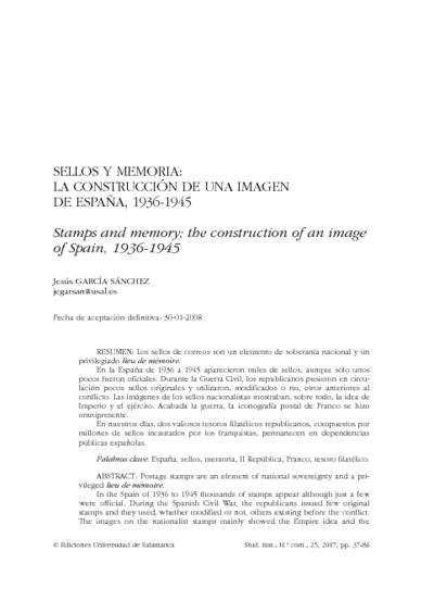 Sellos y memoria: la construcción de una imagen de España, 1936-1945