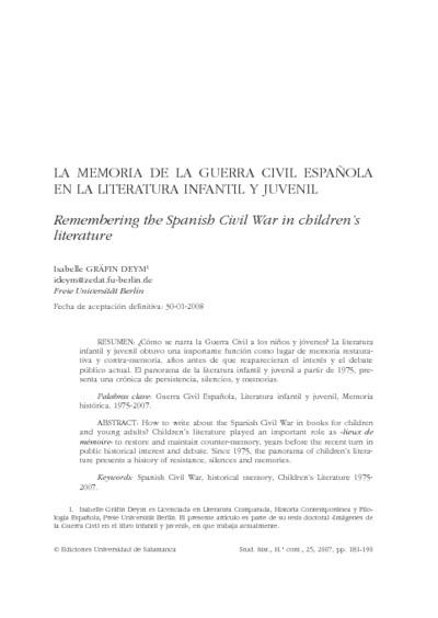 La Memoria de la Guerra Civil Española en la literatura infantil y juvenil