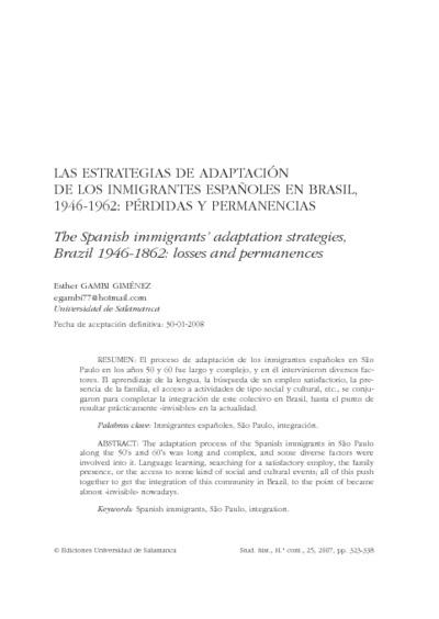 Las estrategias de adaptación de los inmigrantes españoles en Brasil, 1946-1962: pérdidas y permanencias