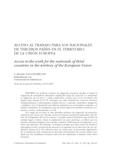 Acceso al trabajo para los nacionales de terceros países en el territorio de la Unión Europea