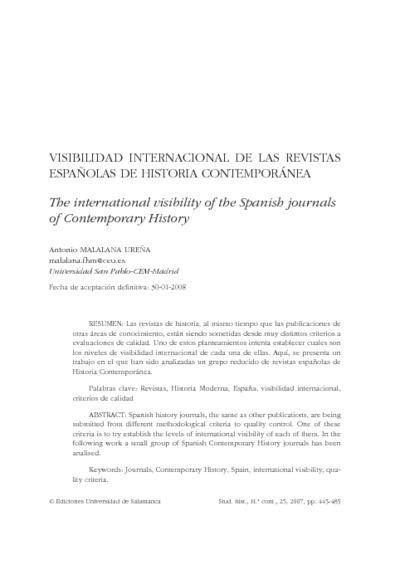 Visibilidad internacional de las revistas españolas de historia contemporánea