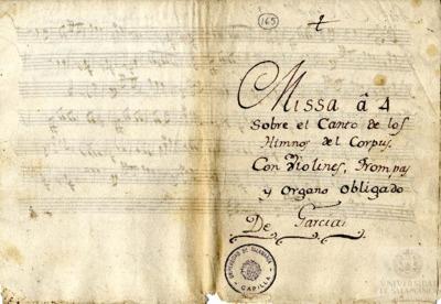 Image from object titled Misa a cuatro sobre el canto de los Himnos del Corpus, con violines, trompas y órgano obligado