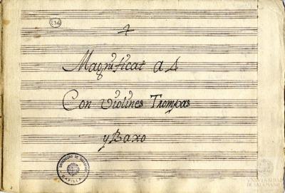 Magnificat a cuatro con violines, trompas y bajo