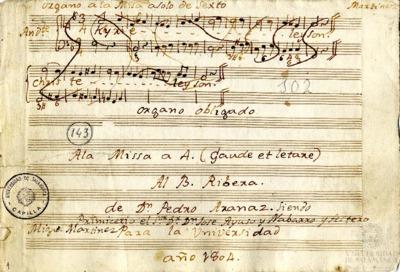 Misa a cuatro (Gaude et Laetare) al Beato Ribera, siendo Primicerio el Señor don José Ayuso y Navarro y Festero Miguel Martínez