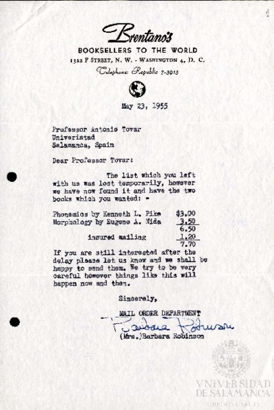 Carta de Barbara Robinson a Antonio Tovar Llorente. Washington D.C. (Estados Unidos), 23 de mayo de 1955