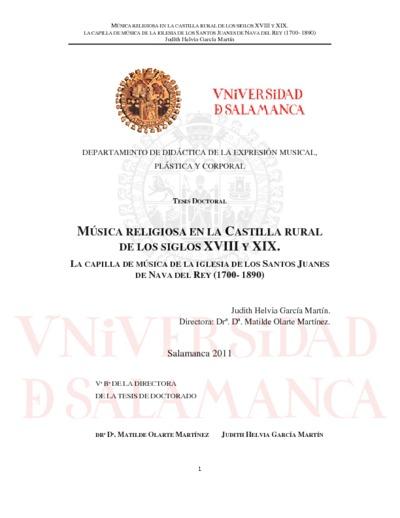 Música religiosa en la Castilla rural de los siglos XVIII y XIX. La capilla de música de la Iglesia de los Santos Juanes de Nava del Rey (1780-1890)