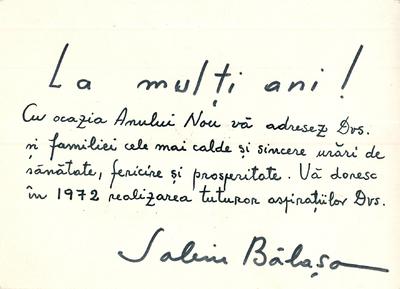 Corespondenţă Sabin Bălaşa - Ion Brad