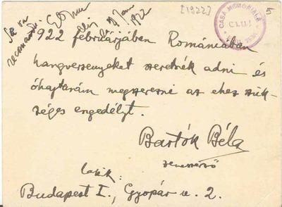 Corespondenţă Bartók Béla - Emil Isac