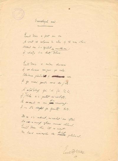 "Emil Isac : ""Necrologul meu"" : [poem]"