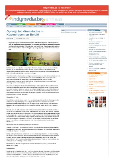 Oproep tot klimaatactie in Kopenhagen en België