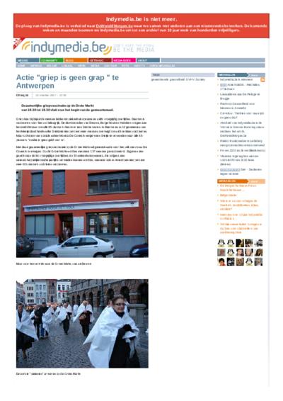 """Actie """"griep is geen grap """" te Antwerpen"""