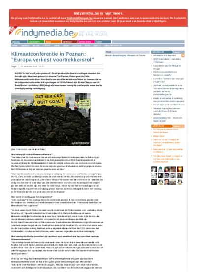 """Klimaatconferentie in Poznan: """"Europa verliest voortrekkersrol"""""""