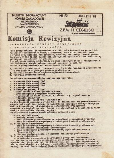 Biuletyn Informacyjny Komisji Zakładowej Niezależnego Samorządnego Związku Zawodowego HCP