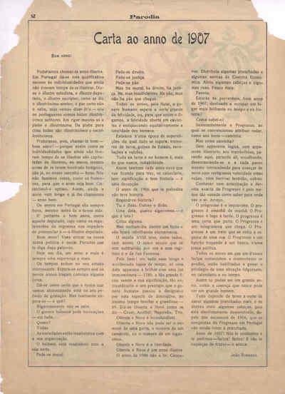 A Paródia, Sábado, 29 de Dezembro de 1906, Ano 6, nº 175