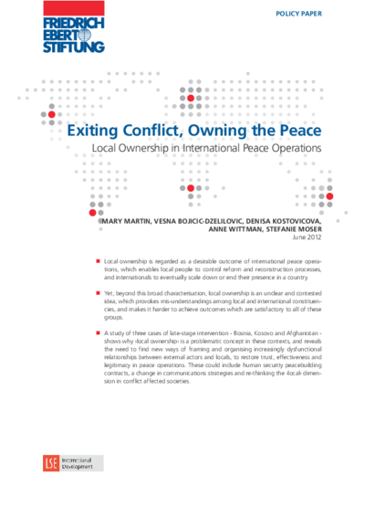 Exiting conflict, owning the peace