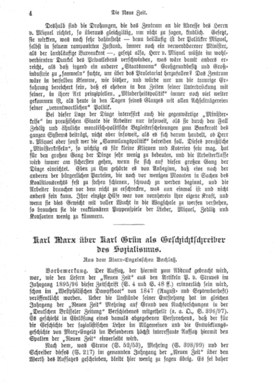 Karl Marx über Karl Grün als Geschichtschreiber des Sozialismus