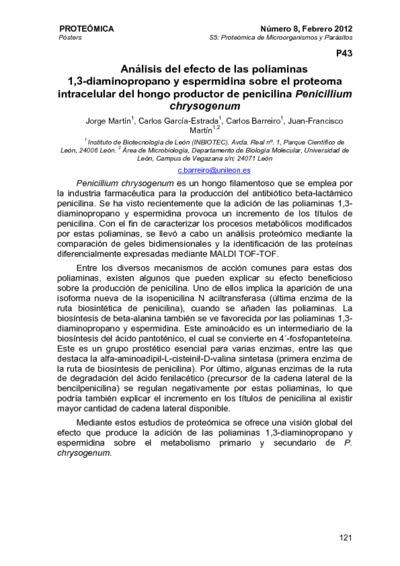Análisis del efecto de las poliaminas 1,3-diaminopropano y espermidina sobre el proteoma intracelular del hongo productor de penicilina Penicillium chrysogenum