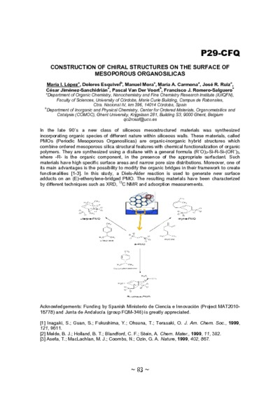 Construction of chiral structures on the surface of mesoporous organosilicas