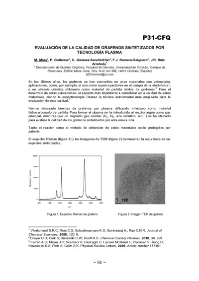 Evaluación de la calidad de grafenos sintetizados por tecnología plasma