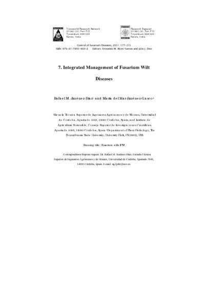 Integrated Management of Fusarium Wilt Diseases