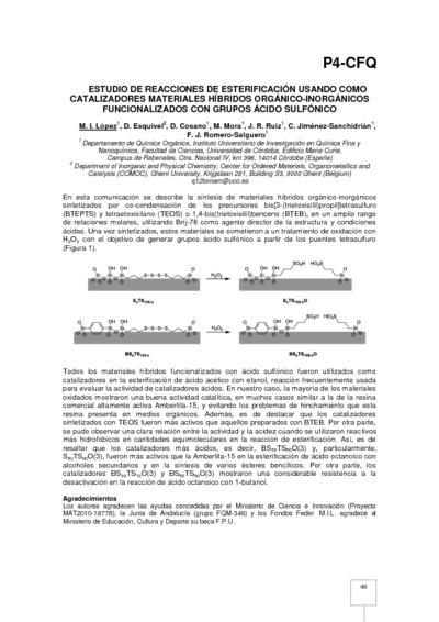 Estudio de reacciones de esterificación usando como catalizadores materiales híbridos orgánico-inorgánicos funcionalizados con grupos ácido sulfónico
