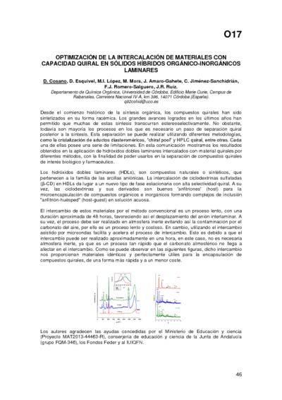 Optimización de la intercalación de materiales con capacidad quiral en sólidos híbridos orgánico-inorgánicos laminares