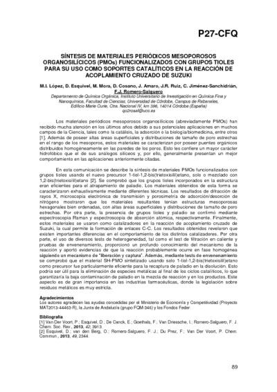 Síntesis de materiales periódicos mesoporosos organosilícicos (PMOS) funcionalizados con grupos tioles para su uso como soportes catalíticos en la reacción de acoplamiento cruzado de Suzuki