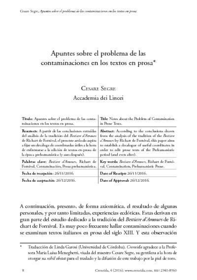 Apuntes sobre el problema de las contaminaciones en los textos en prosa