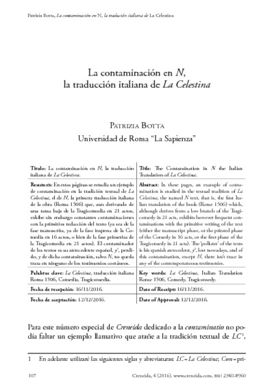 La contaminación en N, la traducción italiana de La Celestina