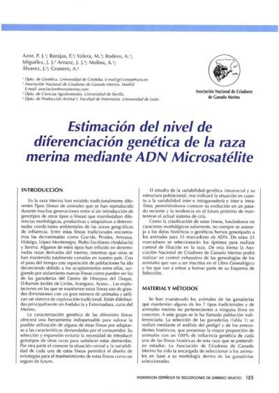Estimación del nivel de diferenciación genética de la raza merina mediante ADN Microsatélite