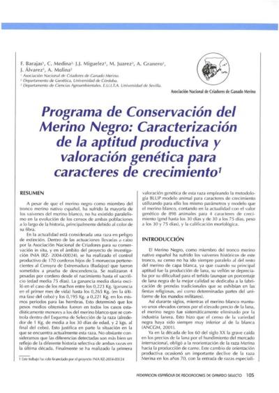 Programa de Conservación del Merino Negro: Caracterización de la aptitud productiva y valoración genética para caracteres de crecimiento