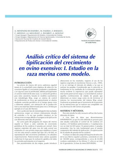 Análisis crítico del sistema de tipificación del crecimiento en ovino exensivo: I. Estudio en la raza merina como modelo
