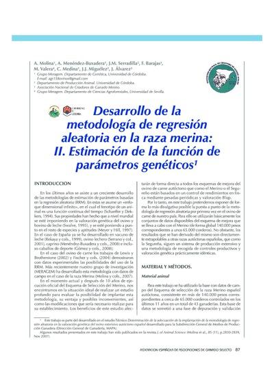 Desarrollo de la metodología de regresión aleatoria en la raza merina: II. Estimación de la función de parámetros genéticos