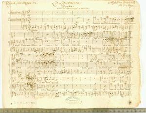 """La lontananza (""""Roma 28. maggio 1712. La Lontananza / Duetto. / con Stromenti, e senza. / Alessandro Marcello / M.ca e Poesia."""")"""