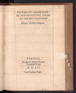 Plutarchi De procreatione animi in Timaeo Platonis Adriano Turnebo interprete