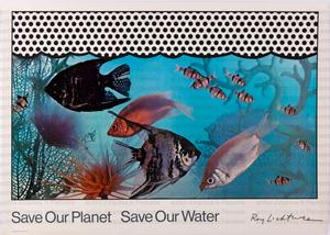 "Manifesto Olivetti sulla campagna ecologica "" Save our planet save our water"": pesci tropicali e pattern a puntini"
