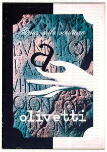 """Manifesto istituzionale Olivetti """"Storia della scrittura"""": disegno di mano che deposita una """"a"""" su un bassorilievo"""