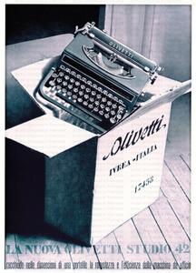 Manifesto pubblicitario della macchina da scrivere Olivetti modello Studio 42: macchina e scatola per imballaggio