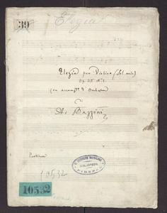 "Elegia (""Elegia per Violino (sol min) / Op. 35 N. 1 / (con accomp.to d'orchestra) / di / A. Bazzini / Partitura"")"