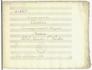 In questa muta tomba / Cavatina / Con accompagnamento di pianoforte / Musica / Del Maestro V. Pucitta [MANOSCRITTO]