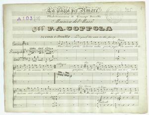 La Pazza per Amore / Melodramma di Giacopo Ferretti / Musica del Maes.o / P.A. Coppola / Scena e Duetto / Di quel Voi non so che farne [MANOSCRITTO]