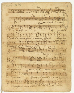 Organo/Serenata a 4 Voci,con/V.V.Violetta e Basso/Del Sig.r David Perez/Per uso del Regal Cons.o di S.M.D.L./1733 [MANOSCRITTO]
