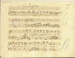 La Paglietta/Cantata a voce sola.Del sig.r D.r Michel Angelo Faggioli [MANOSCRITTO]