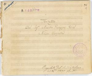 Terzetto / Del Sig.r Maestro Giuseppe Veigl / Nella Cleopatra [MANOSCRITTO]